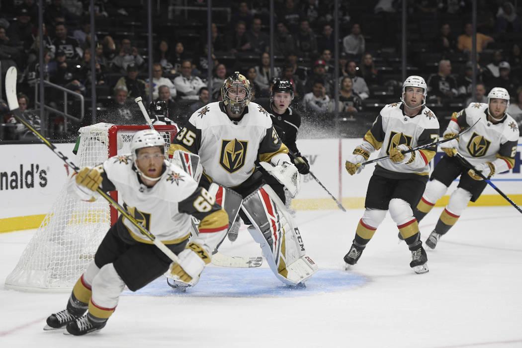 Vegas Golden Knights goalie Oscar Dansk, of Sweden, guards the net during a preseason NHL hocke ...