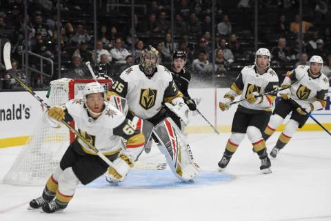 Vegas Golden Knights goalie Oscar Dansk, of Sweden, guards the net during a preseason NHL hocke ...