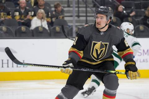 Golden Knights right wing Mark Stone (61) on Friday, March 29, 2019, at T-Mobile Arena, in Las ...