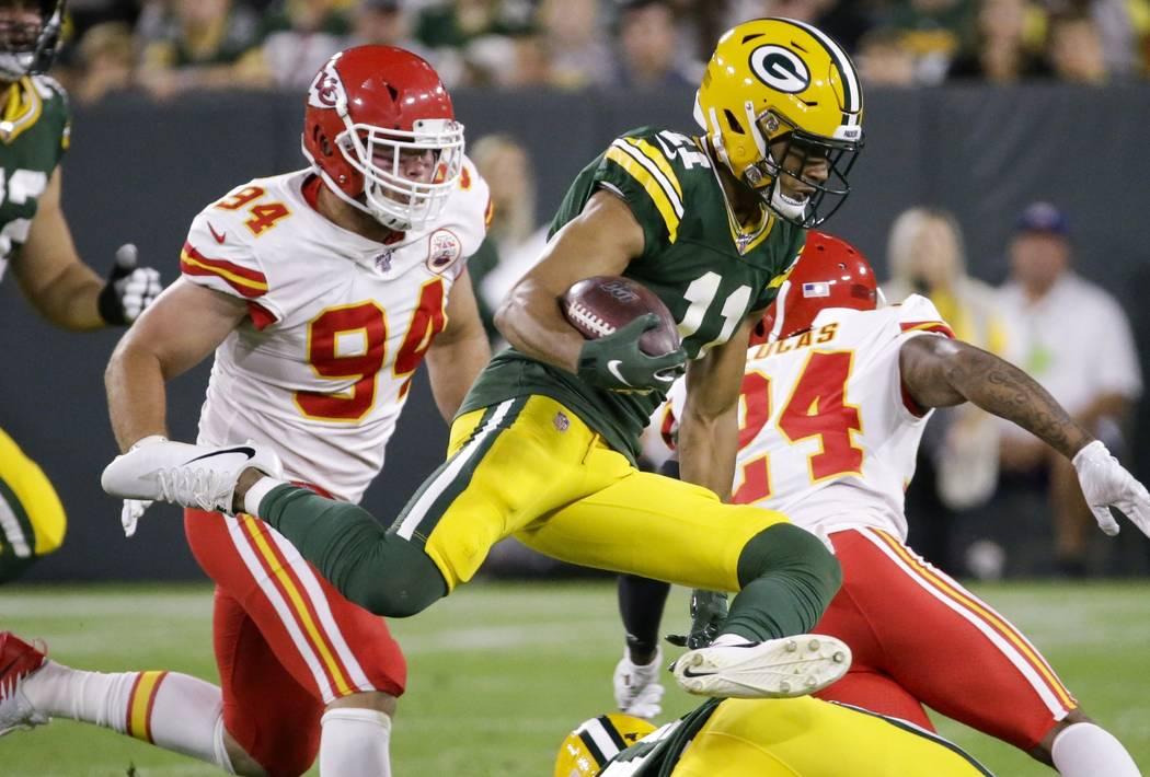 Green Bay Packers' Trevor Davis runs during the first half of a preseason NFL football game aga ...