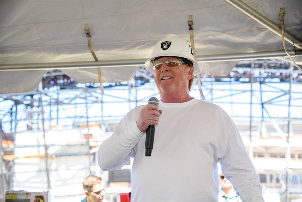 Raiders owner Mark Davis speaks during a lunch prepared by Levy, the team's newly announced foo ...