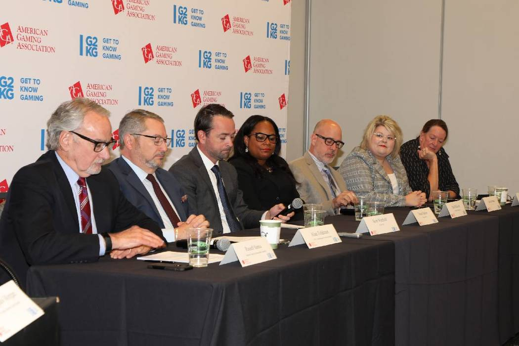 Panelists at the Responsible Gaming Education Week panel on Sept. 19, 2019 at UNLV. (Courtesy, ...