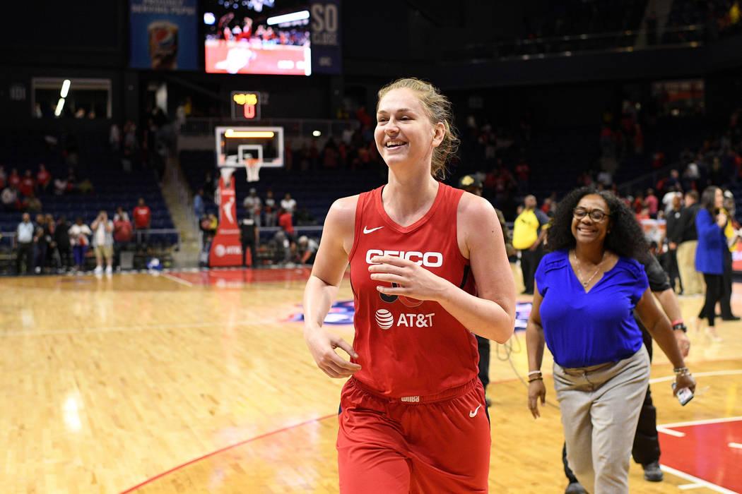 Washington Mystics center Emma Meesseman runs off the court after Game 2 of the team's WNBA pla ...