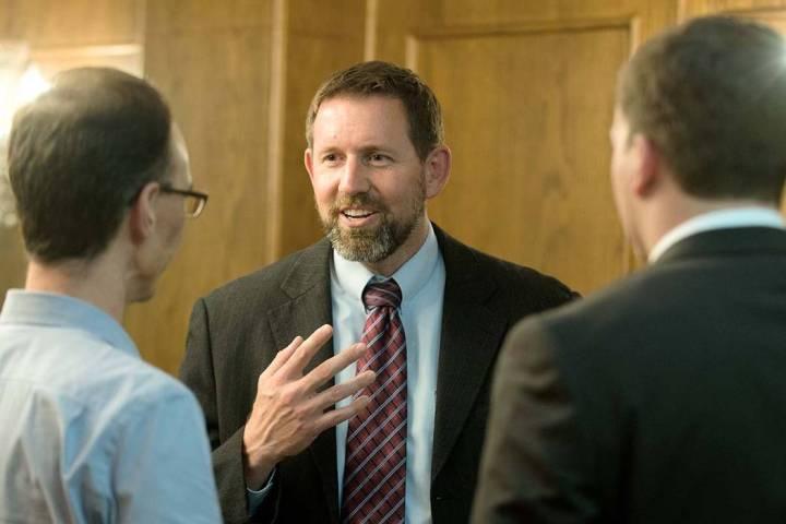Lawrence VanDyke, center, shown Sept. 23, 2014, in Missoula, Mont., is a former solicitor gener ...