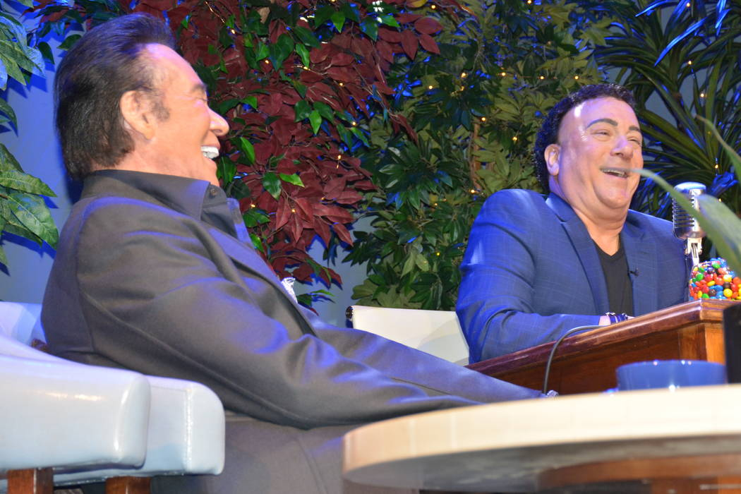 """Wayne Newton and Frankie Scinta are shown during a taping of the pilot for """"Here's Vegas"""" at Mo ..."""