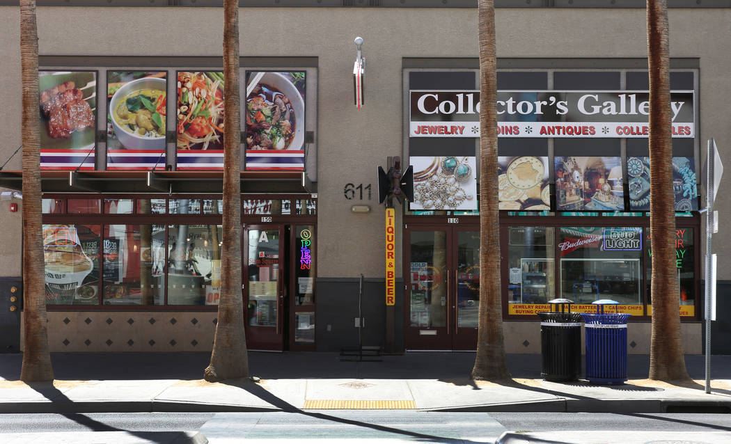 Siam Square Thai restaurant and Collector's Gallery are seen on Fremont Street where the street ...