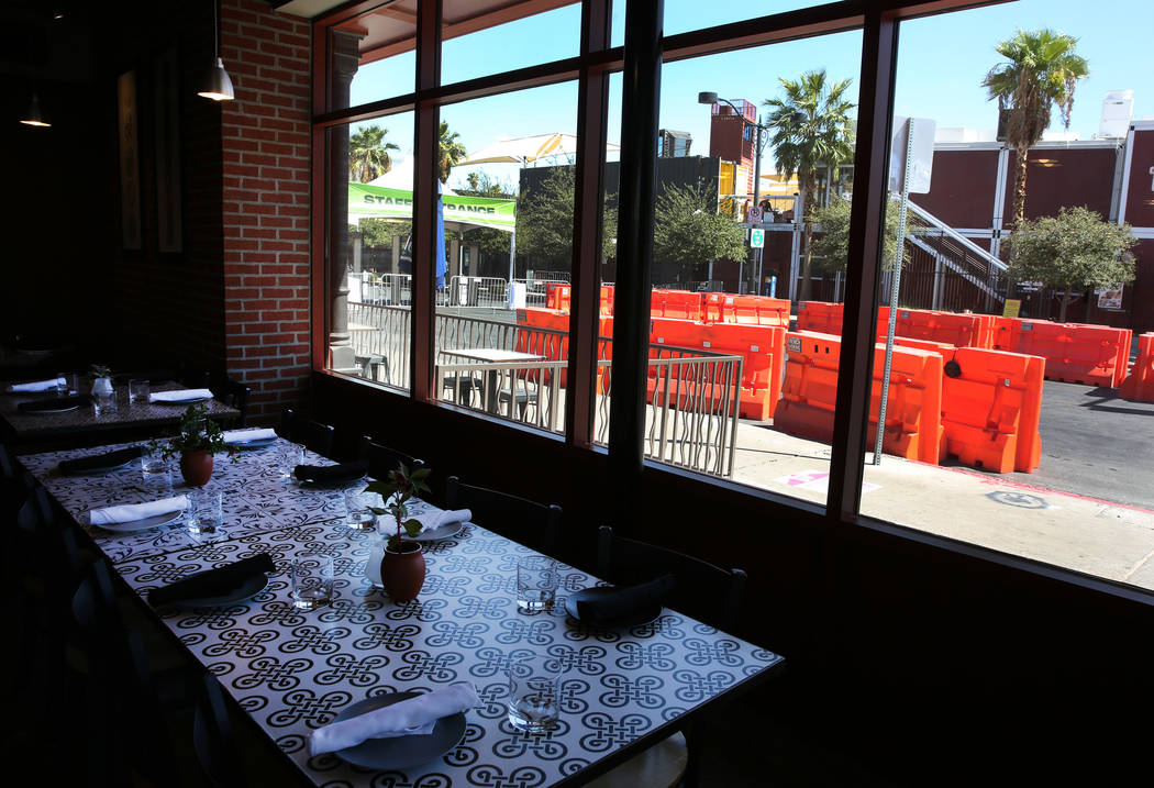 Seventh Street, as seen from Seventh and Carson restaurant, is closed for pedestrian and motor ...