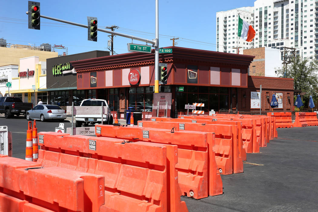 Carson Avenue next to Seventh and Carson restaurant is closed for pedestrian and motor vehicle ...