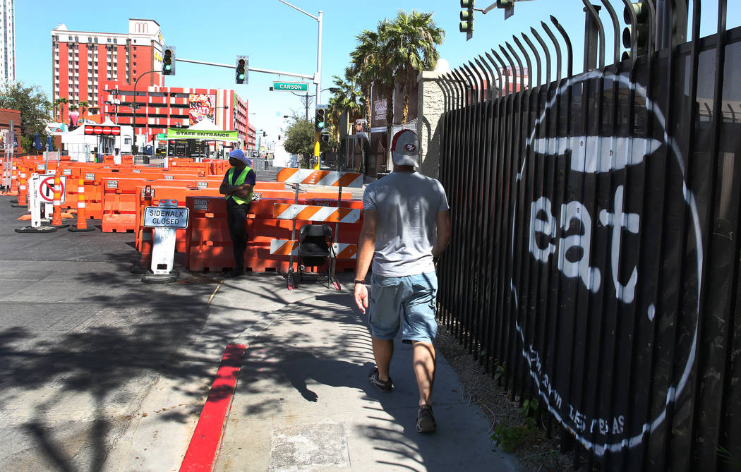 Carson Avenue next to eat restaurant is closed for pedestrian and motor vehicle traffic in prep ...