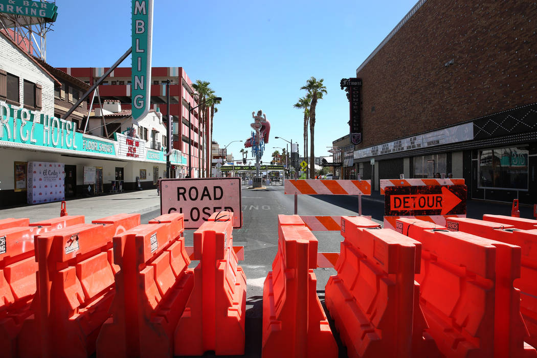 Fremont Street is closed for pedestrian and motor vehicle traffic in preparation for Life is Be ...