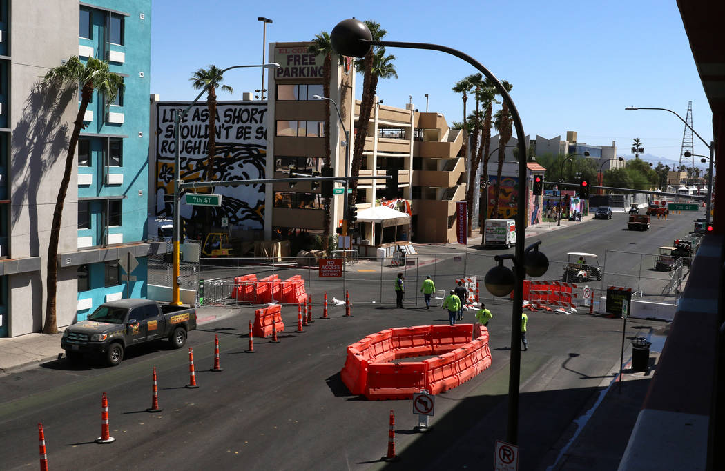 Ogden Avenue next to El Cortez Cabana Suites is closed for traffic in preparation for Life is B ...