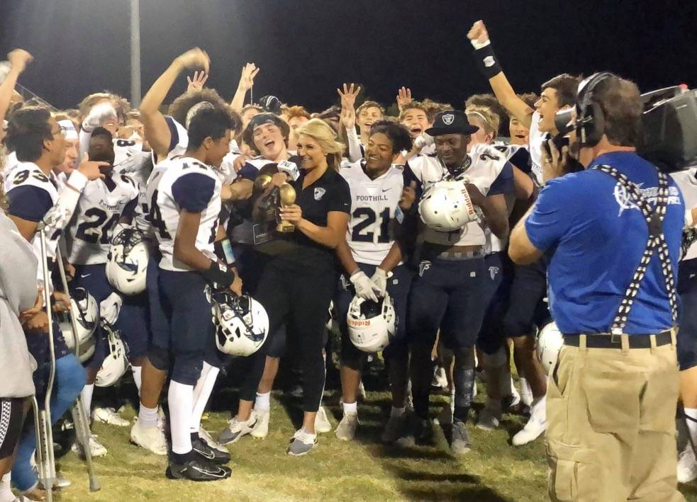 Foothill players celebrate after beating Palo Verde 28-13 on Thursday, Sept. 19, 2019. (Foothil ...