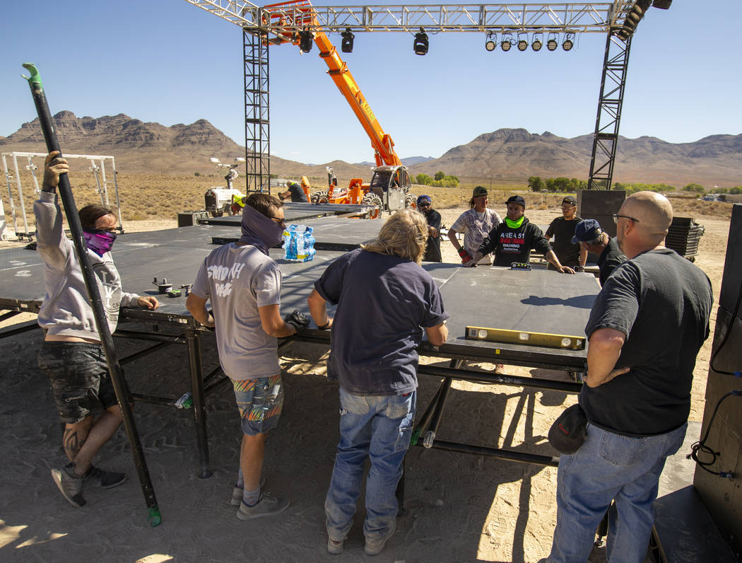 A team from Desert Labor in conjunction with Dream Entertainment continues work on the stage fo ...