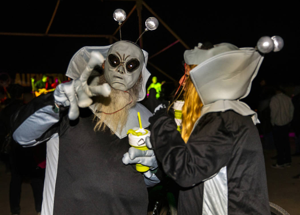 Several aliens are on hand as the Will Sham Bergers of Fallon open the Alienstock festival on T ...