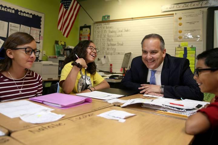 Clark County School Superintendent Dr. Jesus Jara visits MaryAnn Thomson's fifth-grade students ...