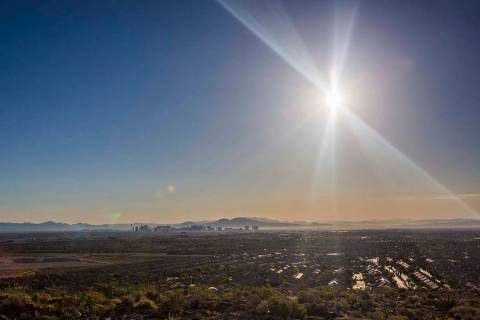 The Las Vegas Valley weekend weather forecast calls for sunny skies and mild winds through Mond ...
