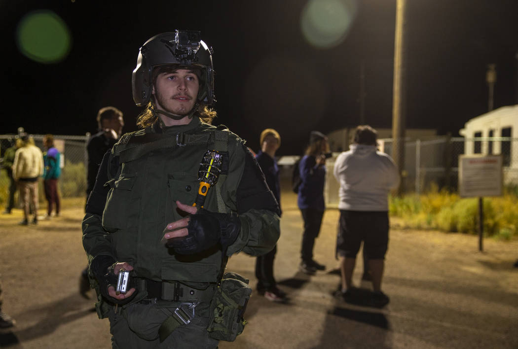 Nathan Brown of Portland, Oregon, arrives at the back gate of Area 51 in homage to the original ...