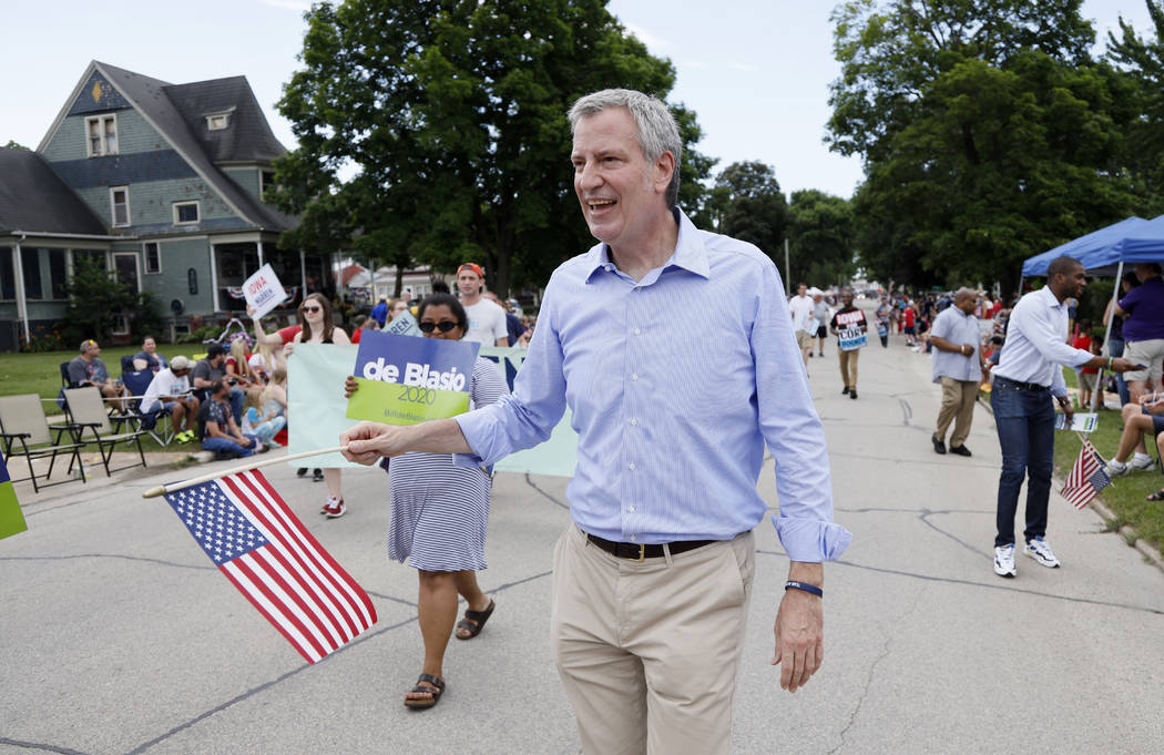 In a July 4, 2019, file photo, Democratic presidential candidate New York Mayor Bill de Blasio ...