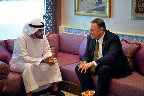 U.S. Secretary of State Mike Pompeo meets with Abu Dhabi Crown Prince Mohamed bin Zayed al-Nahy ...