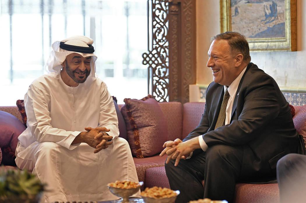U.S. Secretary of State Mike Pompeo meets with Abu Dhabi Crown Prince Mohamed bin Zayed al-Nahy ...