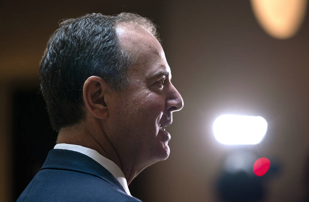 House Intelligence Committee Chairman Adam Schiff, D-Calif., speaks to reporters after the pane ...