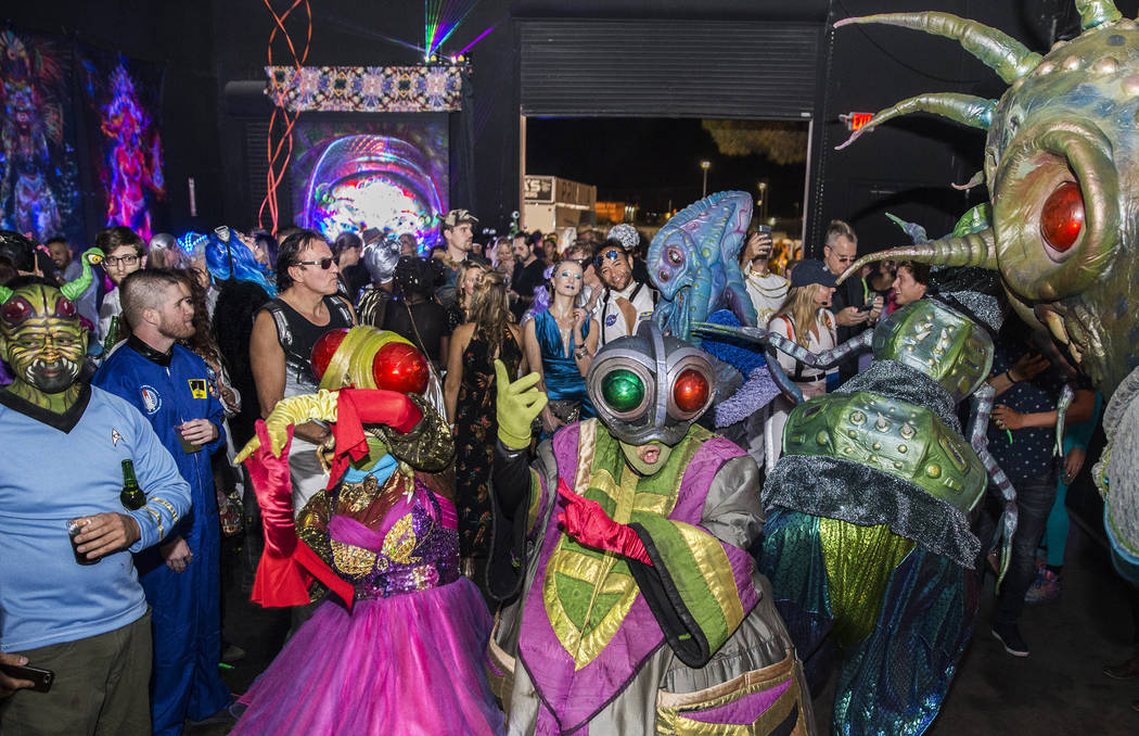 The Big Nazo Intergalactic Creature Band performs during a pre-party for Storm Area 51 on Thurs ...