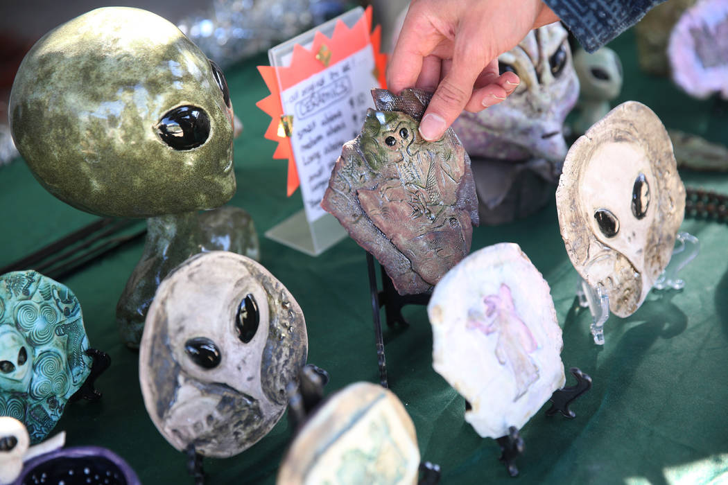Alien themed ceramics for sale during the Alien Basecamp alien festival at the Alien Research C ...