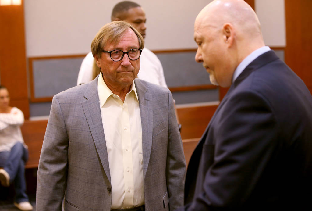 Former Las Vegas Convention and Visitors Authority CEO Rossi Ralenkotter, left, and his attorne ...