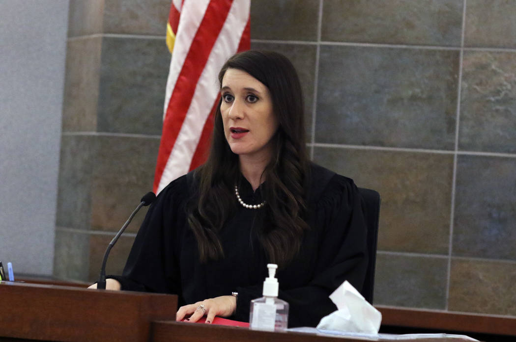 Las Vegas Justice of the Peace Harmony Letizia presides over a hearing to choose a date for a p ...