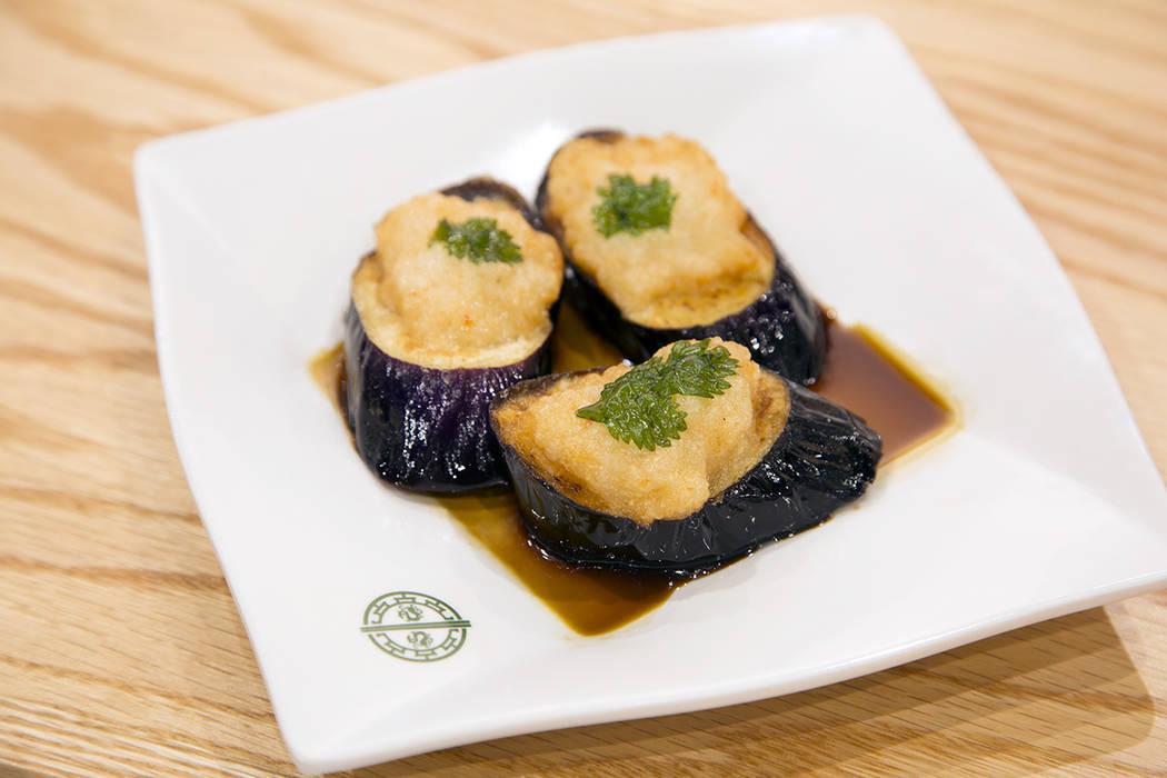 The deep-fried egglant with shrimp at Tim Ho Wan. (Tim Ho Wan)