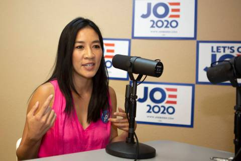 Michelle Kwan, two-time Olympic figure skating medalist, speaks during an interview at a Democr ...
