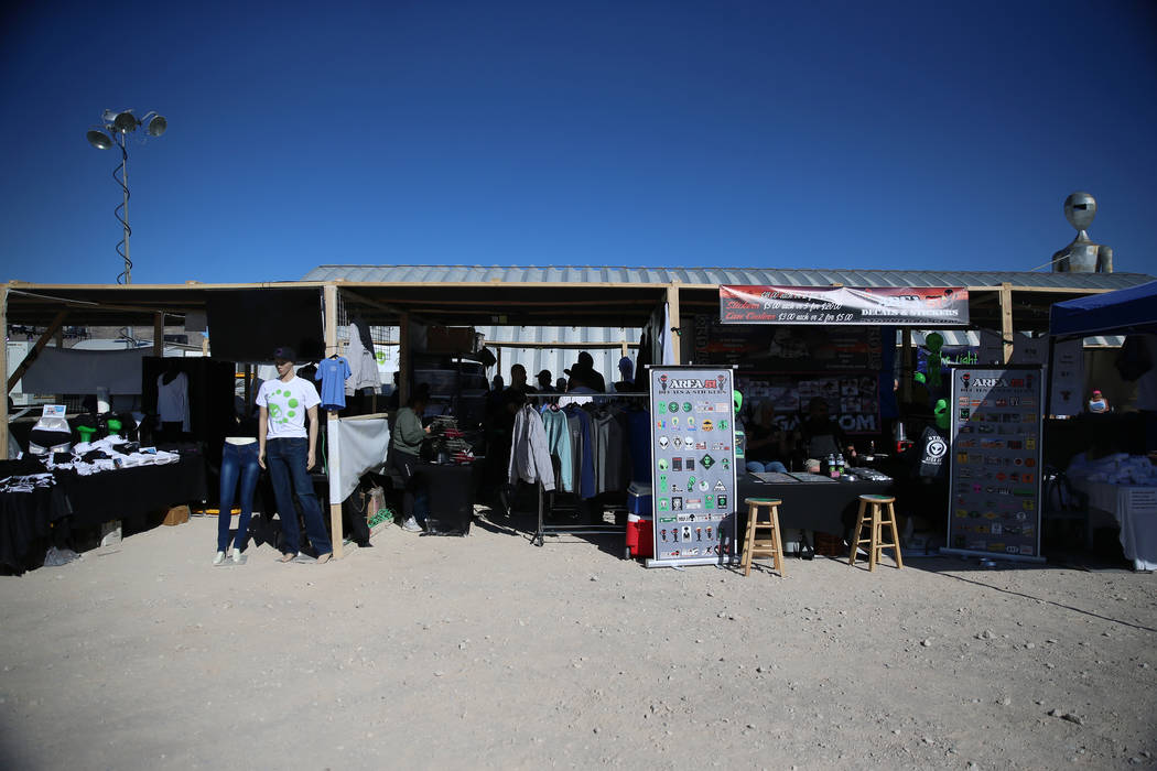 Merchandise stands during the Alien Basecamp alien festival at the Alien Research Center in Hik ...
