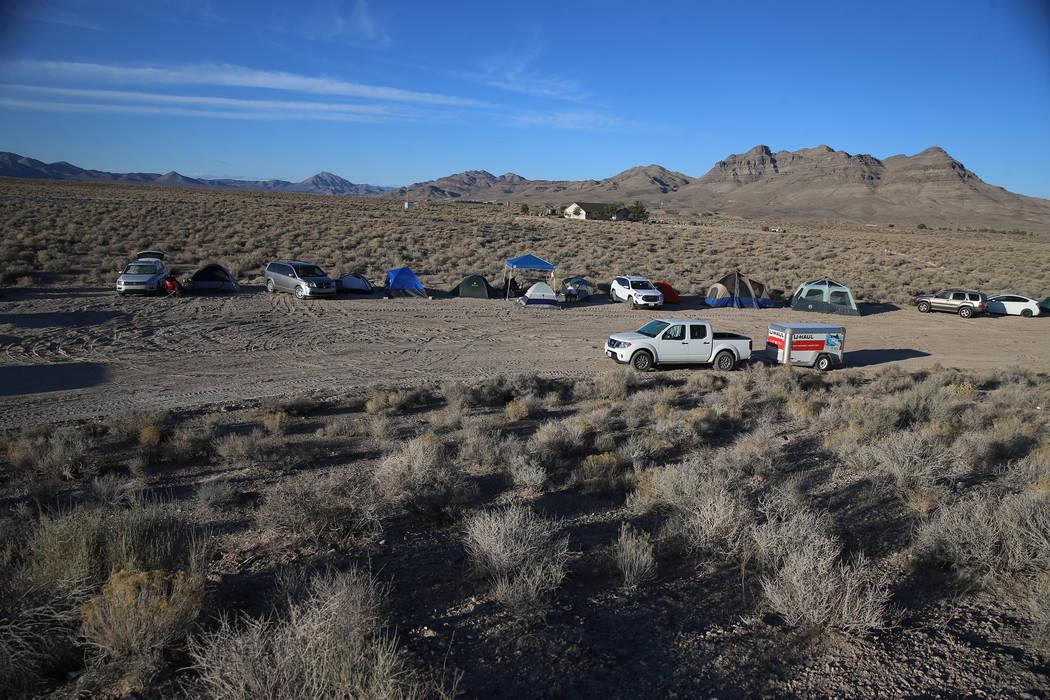 People camp inside the Alien Basecamp alien festival at the Alien Research Center in Hiko, Nev. ...