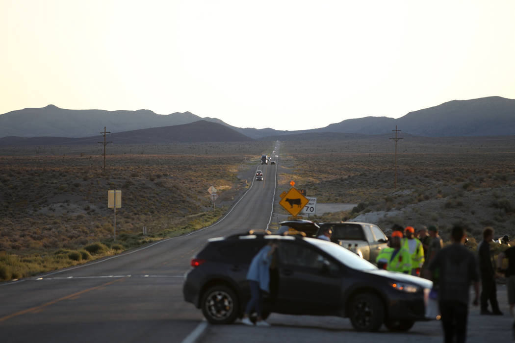 Extraterrestrial Highway along state Route 375 from the Alien Research Center in Hiko, Nev., Fr ...