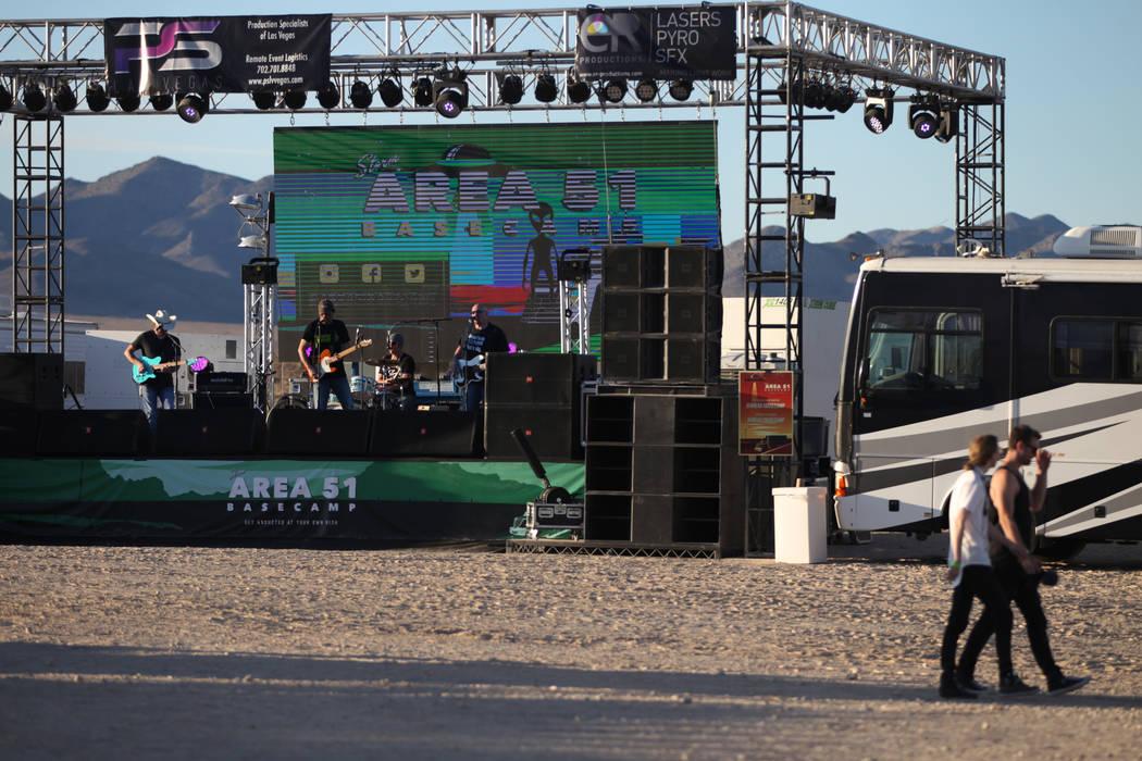 A performance during the Alien Basecamp alien festival at the Alien Research Center in Hiko, Ne ...