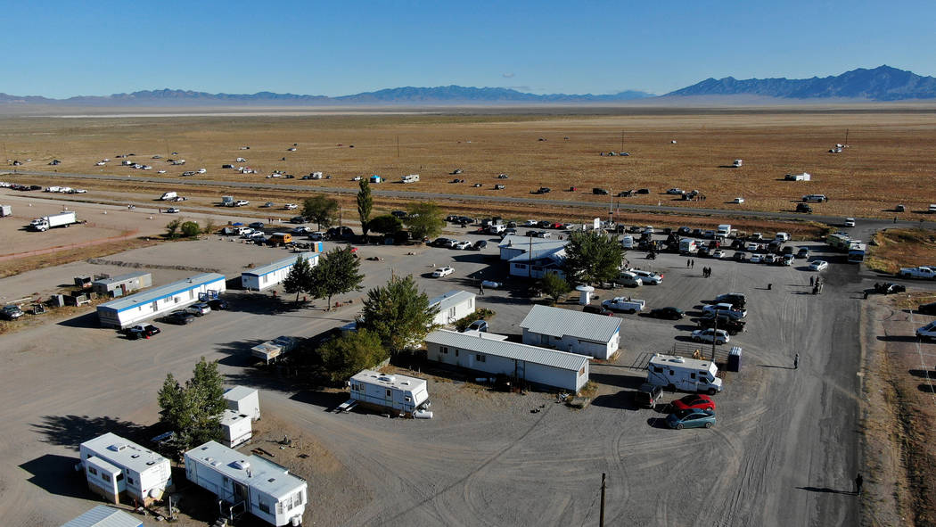 Some Alienstock attendees choose to camp across the road from the event grounds on BLM land in ...