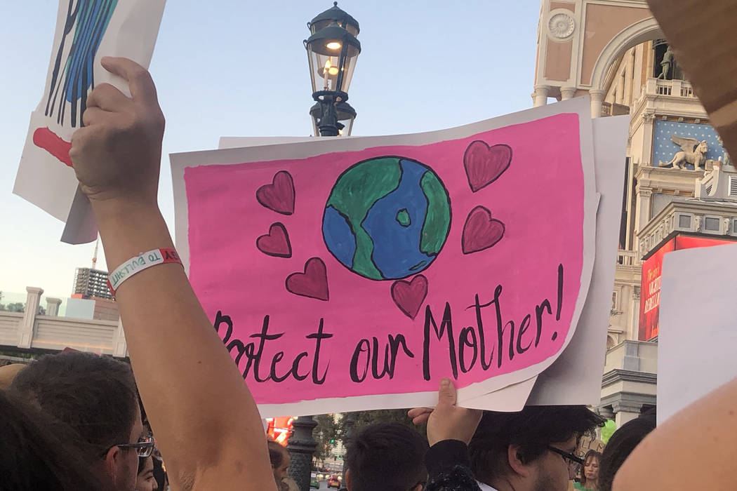"A protester's sign reads ""Protect our Mother"" as more than 100 people protest Friday, Sep ..."
