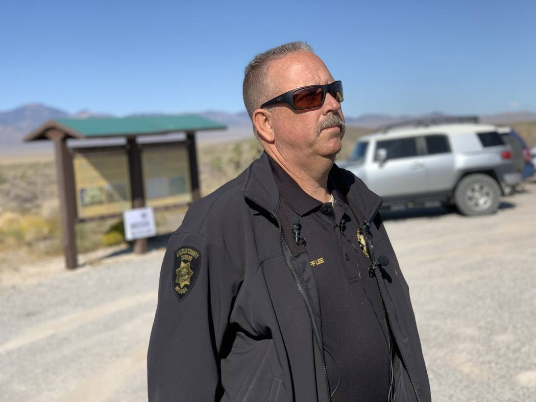 Lincoln County Sheriff Kerry Lee gives a briefing during the second day of Storm Area 51 events ...