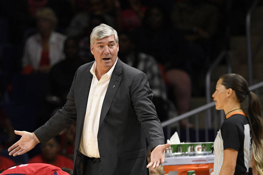 Las Vegas Aces coach Bill Laimbeer gestures next to an official during the second half of Game ...
