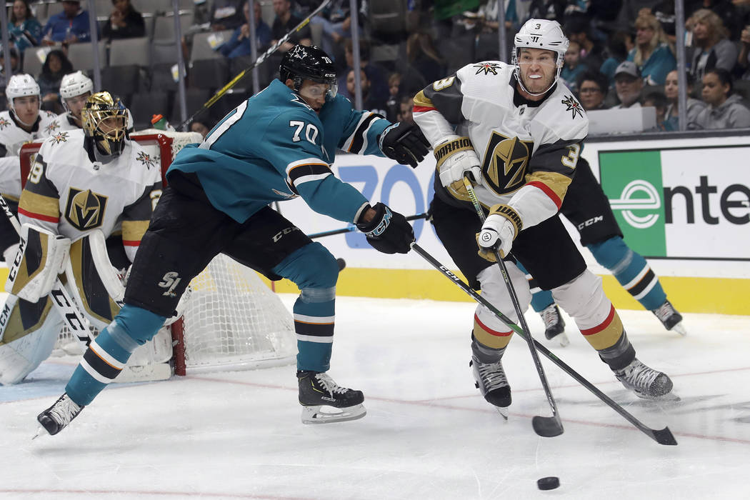 Vegas Golden Knights defenseman Brayden McNabb (3) skates against San Jose Sharks center Alexan ...