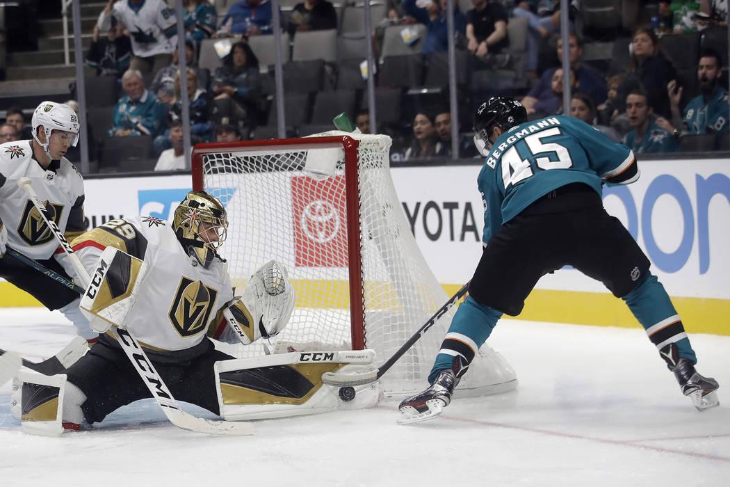 Vegas Golden Knights goaltender Marc-Andre Fleury (29) defends a shot-attempt by San Jose Shark ...