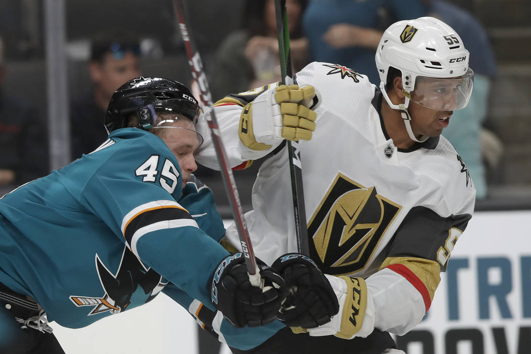 Vegas Golden Knights right wing Keegan Kolesar (55) skates in front of San Jose Sharks' Lean Be ...