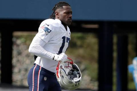 In this Wednesday, Sept. 18, 2019, file photo, New England Patriots wide receiver Antonio Brown ...