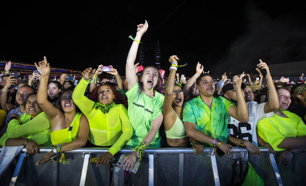 Fans react as Billie Eilish, not pictured, performs at the downtown stage during the first day ...