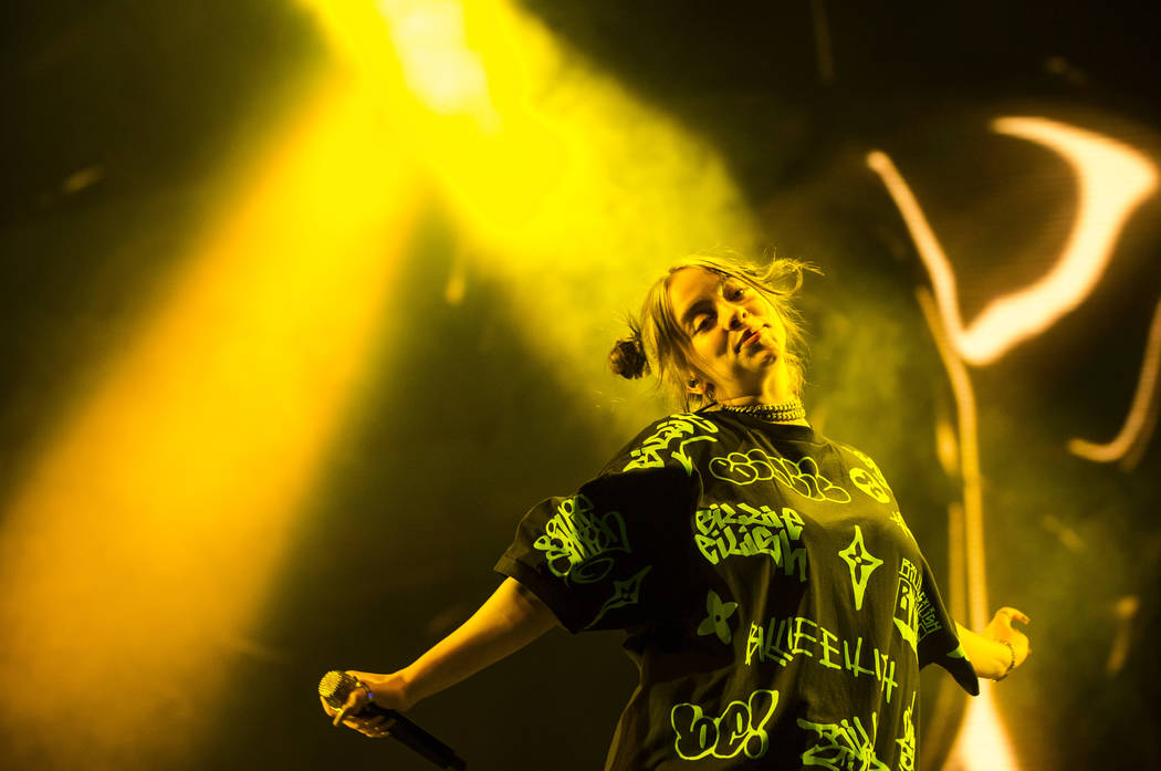 Billie Eilish performs at the downtown stage during the first day of the Life is Beautiful fest ...