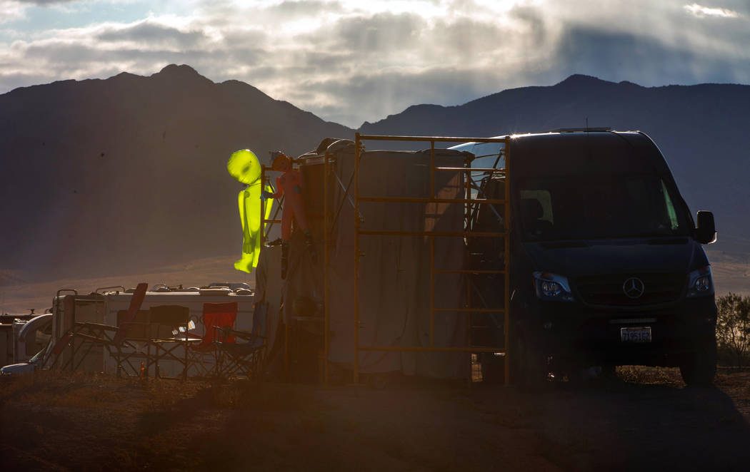 Morning falls on a campsite complete with alien during the Alienstock festival on Saturday, Sep ...