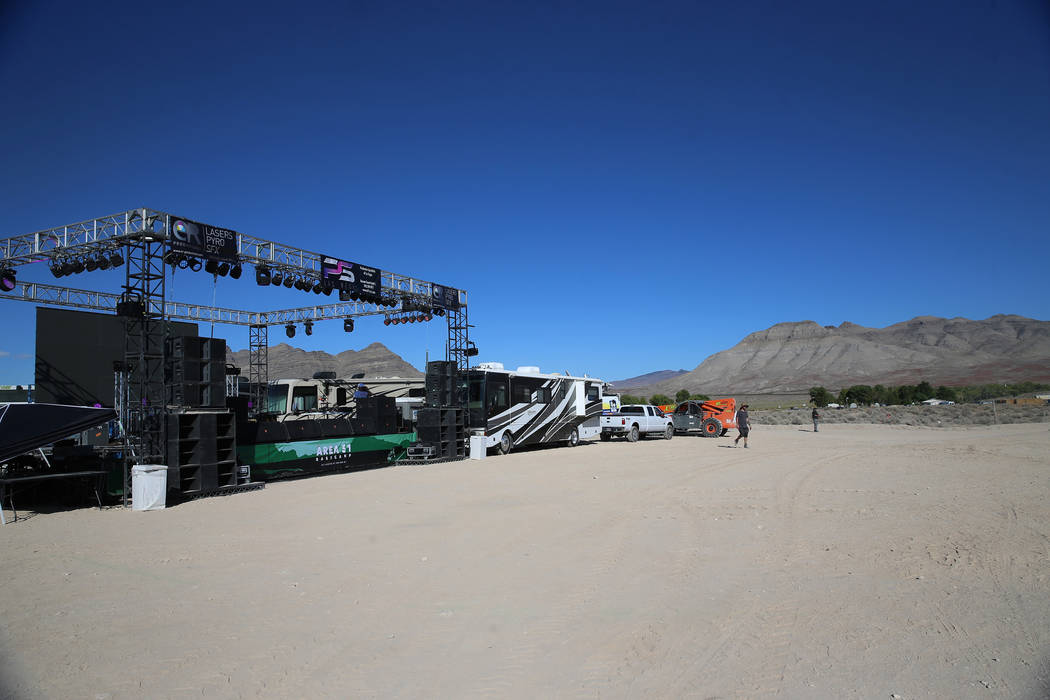 Music plays at the Alien Basecamp alien festival at the Alien Research Center in Hiko, Nev., Fr ...