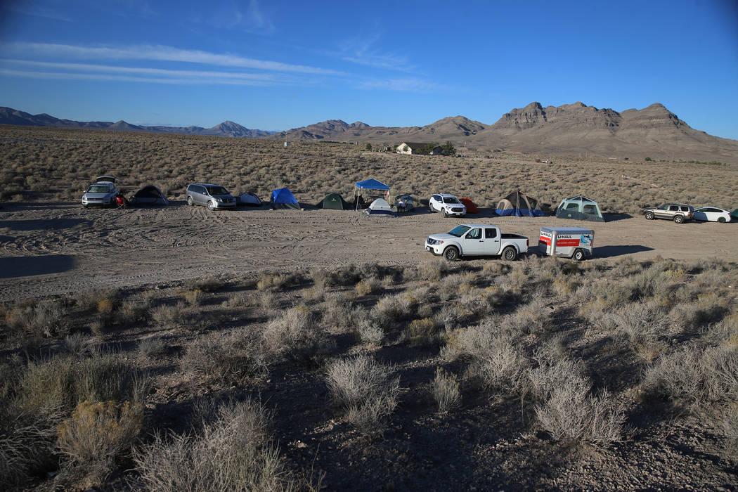 People camp inside the Alien Basecamp alien festival at the Alien Research Center in Hiko, Nev. ...