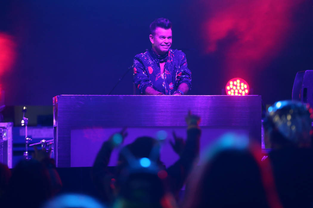 Grammy-nominated DJ Paul Oakenfold performs during the Alien Basecamp festival at the Alien Res ...