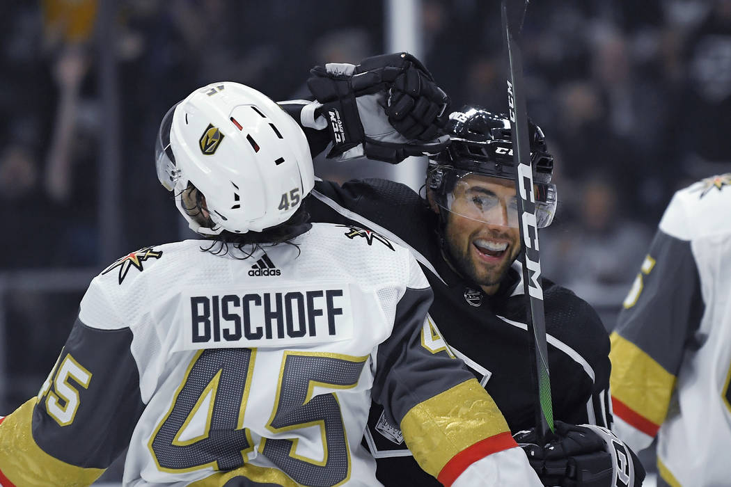 Los Angeles Kings left wing Alex Iafallo, right, celebrates a goal by right wing Dustin Brown a ...